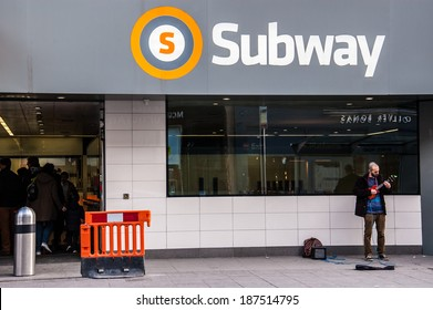 Glasgow, UK, March, 2014:  Entrance of the newly refurbished Glasgow subway in Byres road, West end.