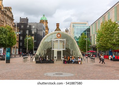 Glasgow, UK - September 12, 2016: St. Enoch Square with unidentified people. Its a public square situated at the junction of Buchanan Street and Argyle Street, the city's 2 busiest shopping streets