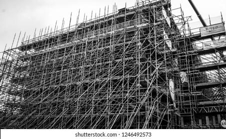 Glasgow, United Kingdom - 11 23 2018: Glasgow School of Art Mackintosh Building Post Fire 15/6/2018 reconstruction