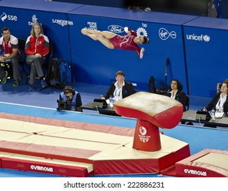 GLASGOW, UNITED KINGDOM - JULY 30: gymnast Claudia Fragapane on Vault in Ladies All Around A Final at Commonwealth Games in SSE Hydro on July 30, 2014 in Glasgow, United Kingdom. Fragapane won gold.