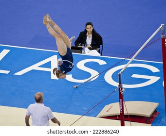 GLASGOW, UNITED KINGDOM - JULY 30: unidentified Scottish gymnast on Uneven Bars in Ladies All Around B Final at Commonwealth Games in SSE Hydro on July 30, 2014 in Glasgow, United Kingdom.