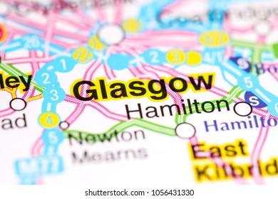 Glasgow. United Kingdom on a map