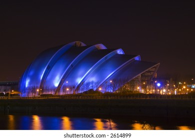 Glasgow's so-called 'Armadillo' building at night time