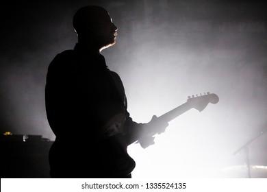 Glasgow/Scotland - 02.03.2019: Andy MacFarlane of The Twilight Sad Glasgow Barrowland Ballroom sold out concert  with heavy fog machine smoke