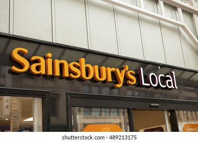 GLASGOW,SCOTLAND -JUNI 27,2016 : The exterior of a Sainsbury's local on Juni 27,2016, in London, England, UK. Sainsbury's is one of the UK's leading supermarkets.