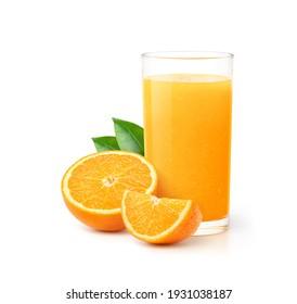 Glass of 100% Orange juice with orange sacs and slices fruits isolate on white background.