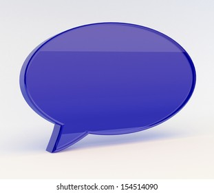 glass 3D text bubble render isolated with clipping path