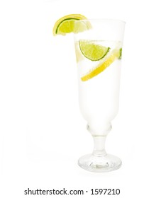 Glass of 7up with lemon and lime isolated on white background