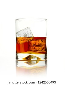 glass of alcohol isolated on white