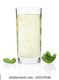 Glass of aloe vera juice isolated on white background