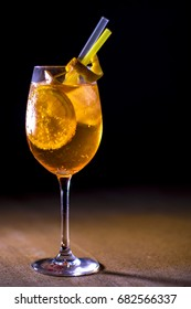 A glass of aperol spritz cocktail