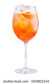 glass of aperol spritz cocktail isolated on a white background