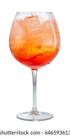 glass of aperol spritz cocktail isolated on white background, selective focus