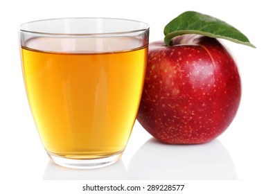 Glass of apple juice with red apple isolated on white