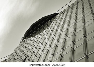 glass architecture of modern building. black and white