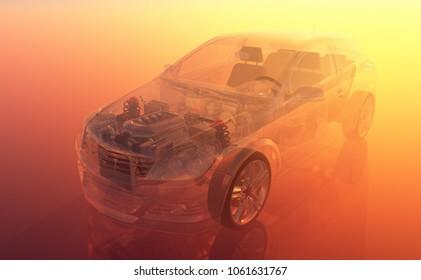 Glass auto on an orange background..3d render