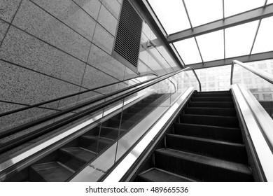glass automatic elevator, closeup of photo