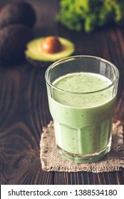 Glass of avocado and coconut milk smoothie