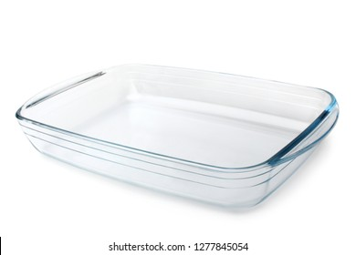 Glass baking tray on white background