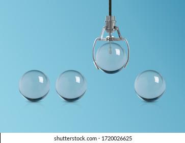 la pelota de vidrio es elegida entre otros. selección de contratación