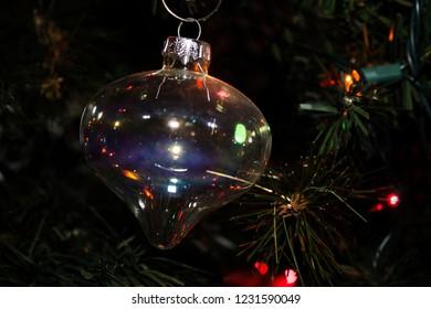 Glass Ball Christmas Ornament hanging on the Christmas Tree