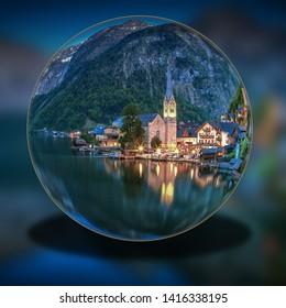 Glass ball with panorama of Hallstatt Austria