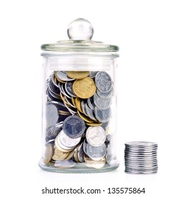 Glass bank for  with money isolated on white background.