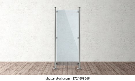Glass banner stand. 3d blank advertising template mockups. Empty exhibition vertical stand banner illustration for you design.