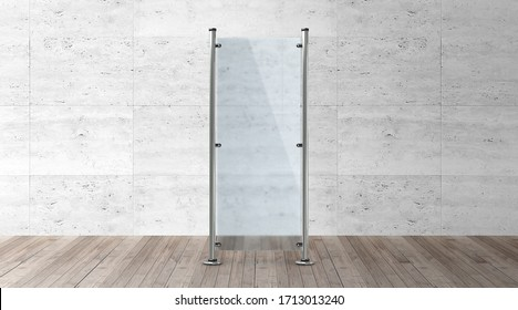 Glass banner stand. Blank advertising template mockups. Empty exhibition vertical stand banner for you design.
