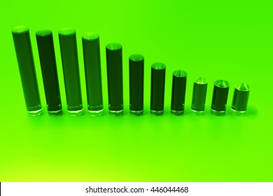 glass bar chart 3d rendering background