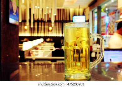 Glass of beer in a bar