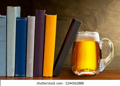 Glass of beer with books in the library