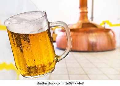 Glass of beer in the brewery