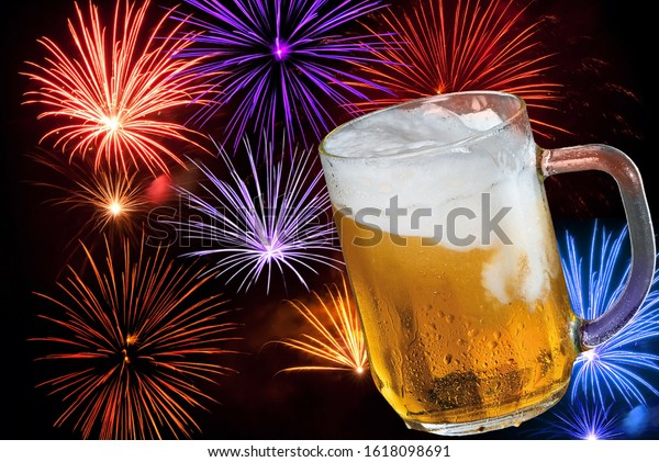 Glass of beer with a firework