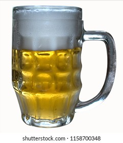 A glass of beer with foam