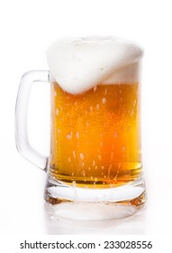 glass of beer foam Isolated on white background