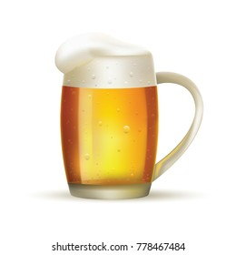 Glass of beer with foam on white isolated background.  illustration.
