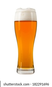 Glass of beer with fume, isolated on white background