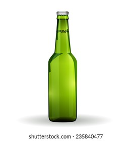Glass Beer Green Bottle On White Background Isolated