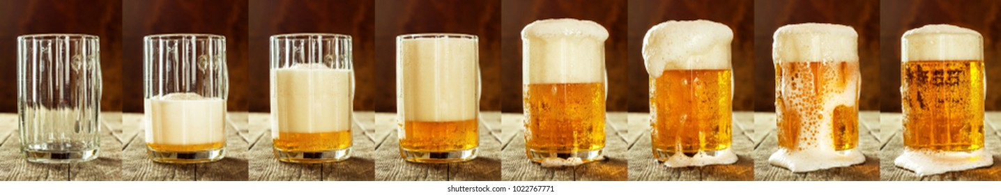 Glass of beer on an old wooden table. Sales of alcohol.Beer panorama