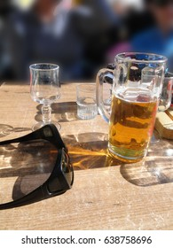 Glass of beer at an outdoor restaurant in the ski area of Avoriaz, France