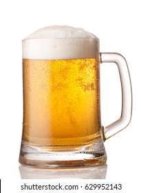 Glass of beer over a white background