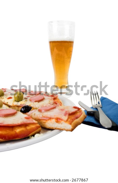 glass of beer and pizza isolated on white