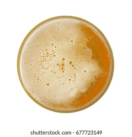 Glass of beer, top view, isolated on white background