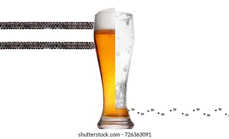 Glass of beer.Concept photography don't drink and drive.Drink or drive