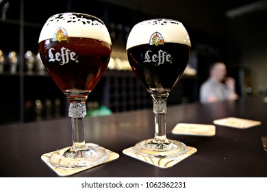 Glass of Belgian Leffe beer in the Leffe museum in  Dinant, Belgium on Nov. 1, 2016