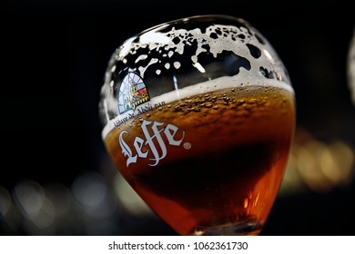 Glass of Belgian Leffe Tripel beer in the Leffe museum in  Dinant, Belgium on Nov. 1, 2016