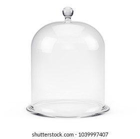 Glass bell jar isolated on white background. 3d rendering