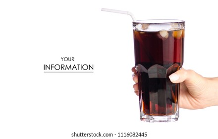 Glass black carbonated water foam kvass dark beer in hand pattern on white background isolation