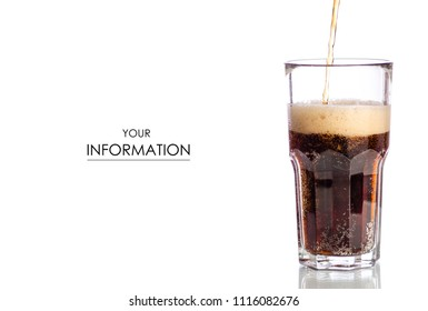 Glass black carbonated water foam kvass dark beer pattern on white background isolation